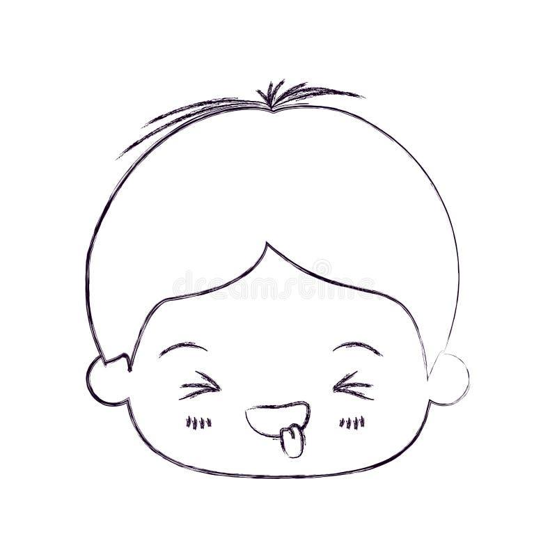 Zamazana cienka sylwetka kawaii głowa chłopiec z wyrazem twarzy śmiesznym z zamkniętymi oczami royalty ilustracja