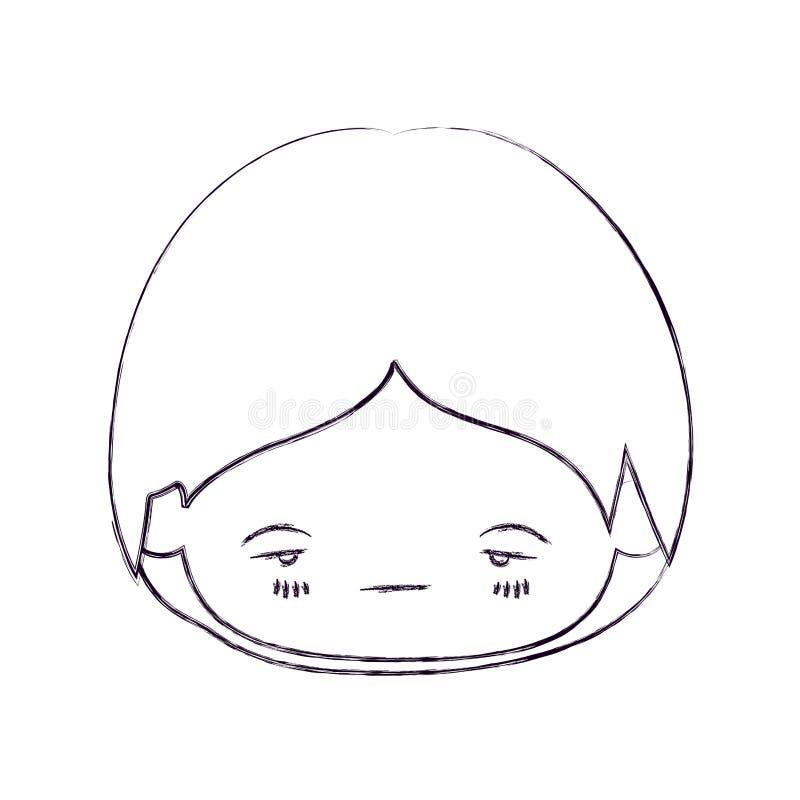 Zamazana cienka sylwetka kawaii głowa chłopiec z wyrazem twarzy nerwowym ilustracja wektor