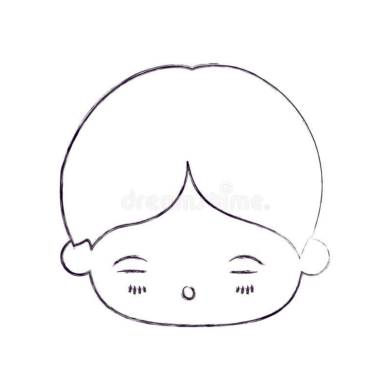 Zamazana cienka sylwetka kawaii głowa chłopiec z wyrazem twarzy zmęczony ilustracja wektor