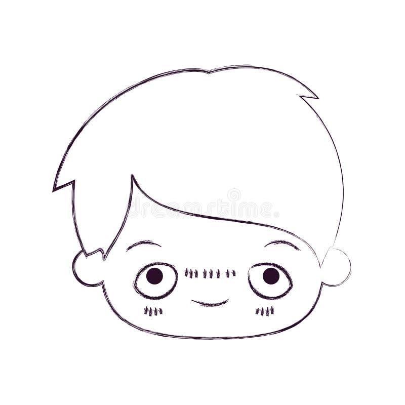 Zamazana cienka sylwetka kawaii głowa chłopiec z zaaferowanym wyrazem twarzy ilustracja wektor