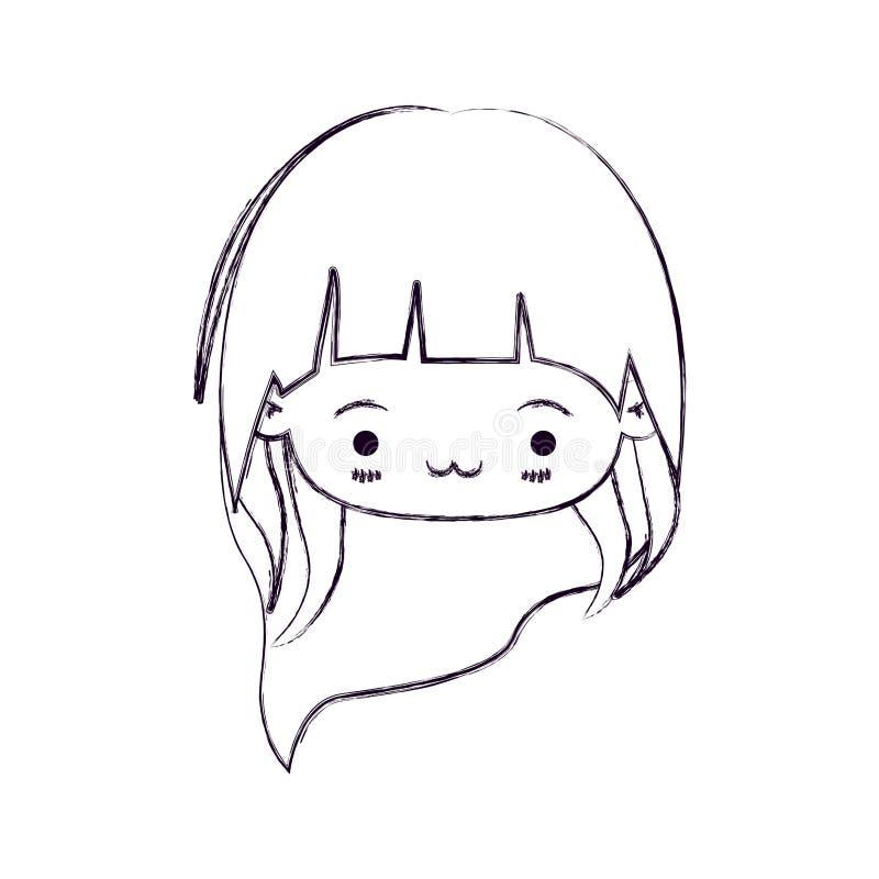 Zamazana cienka sylwetka kawaii głowy mała dziewczynka z długie włosy i wyraz twarzy wyczerpujący ilustracja wektor