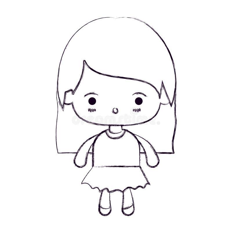 Zamazana cienka sylwetka kawaii mała dziewczynka z prostym włosy i wyraz twarzy zaskakujący ilustracji