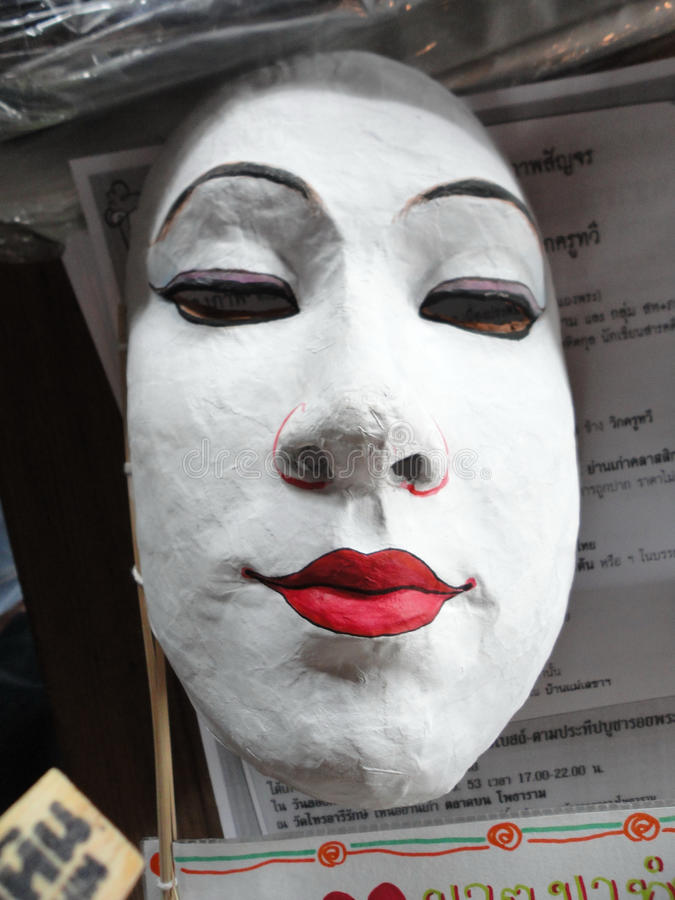 Zamazana tajlandzka straszna biała twarzy i czerwieni warga zdjęcia stock