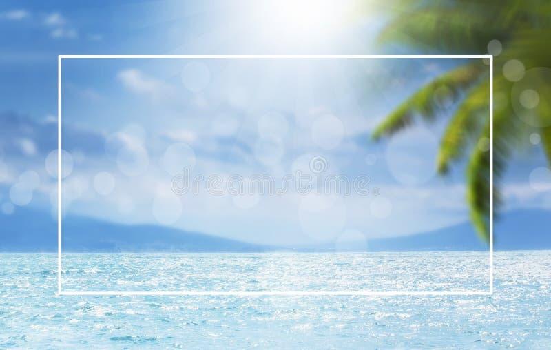 Zamazanego lata naturalny morski tropikalny błękitny tło z palma liśćmi i sunbeams światło Biel granicy rama Morze i niebo zdjęcia stock