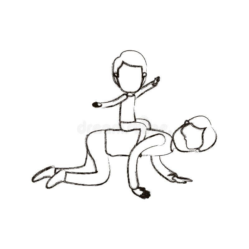 Zamazanej sylwetki karykatury beztwarzowy brodaty ojciec z chłopiec bawić się konia na jego z powrotem royalty ilustracja