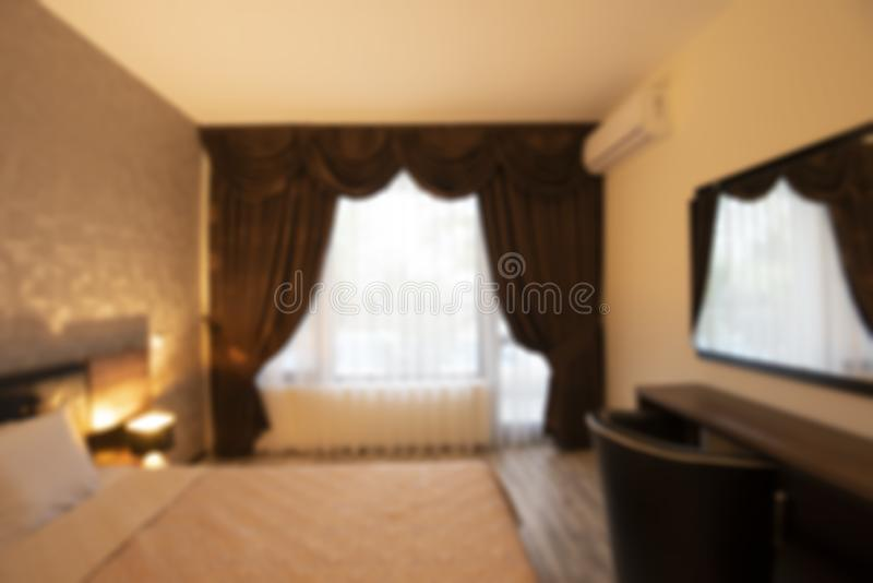 Zamazanej sypialni wewnętrzny projekt zdjęcie stock