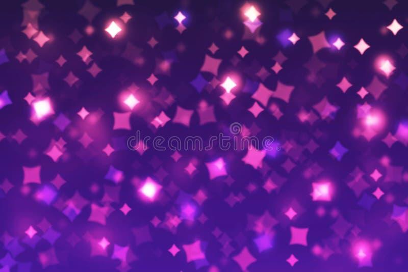 Zamazani bokeh tła rhombuses błękity, purpura, menchie, czerń, narodziny ilustracja wektor