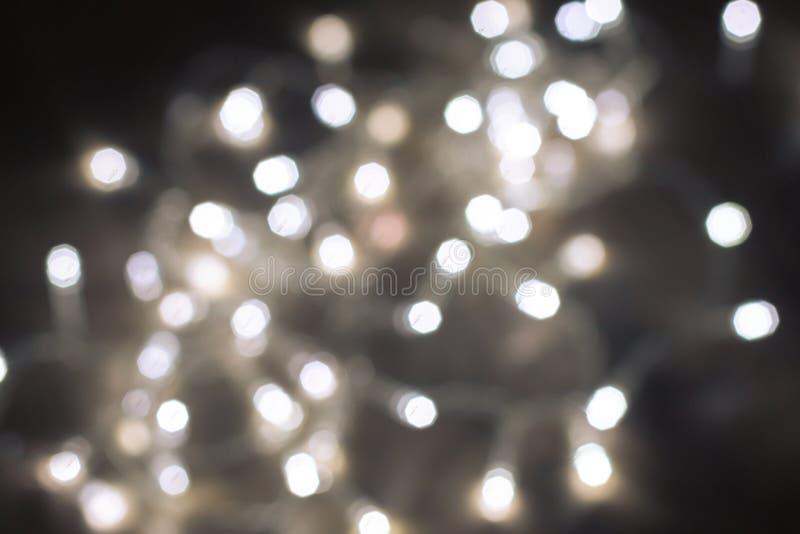Zamazany białych bożych narodzeń świateł tło fotografia stock