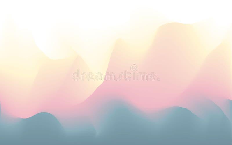 Zamazany falisty abstrakcjonistyczny futurystyczny miękki pastelowych kolorów przepływ mieszał tło ilustracja wektor