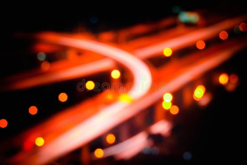 Zamazany futurystyczny noc widok autostrady wymiana bangkok Thailand zdjęcia stock