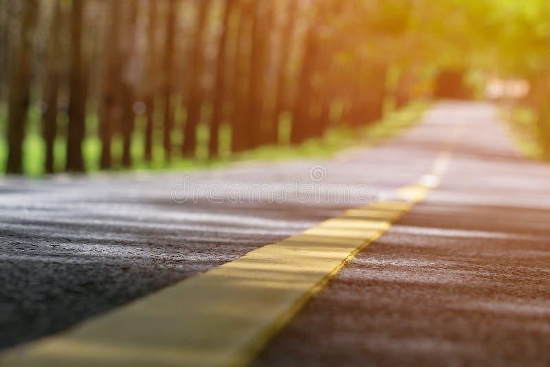 Zamazany osamotniony drogowy obrazek z ciepłym światłem słonecznym Puści jałowi naturalni miejsca dobrzy dla scenicznych przejażd fotografia royalty free