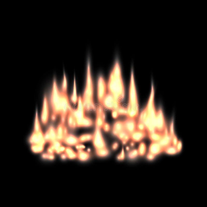 Zamazany pożarniczy lekki skutek, tło graba z płomieniami gorącymi, ember lub tli się węgle, ilustracji