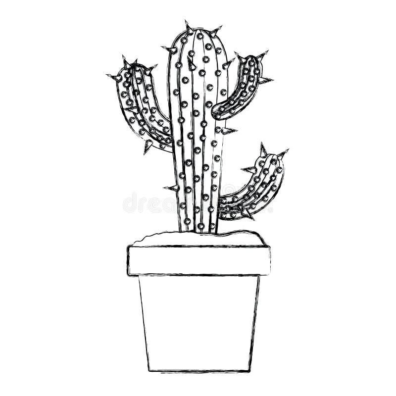 Zamazany sylwetka kaktus trzy gałąź w garnku ilustracja wektor