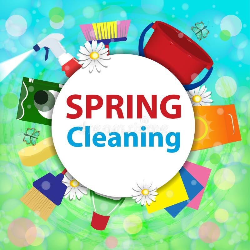 Zamazany tło z mydlanymi bąblami Wiosny cleaning usługa co royalty ilustracja