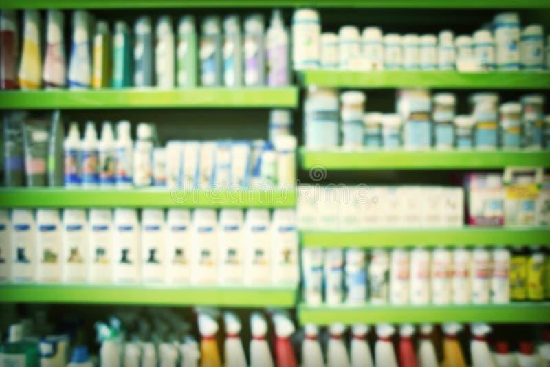 Zamazany widok zwierzęcy szampony, witaminy fotografia stock
