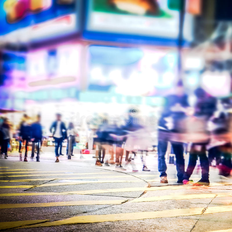 Zamazany wizerunek nocy miasta ulica hong kong fotografia royalty free