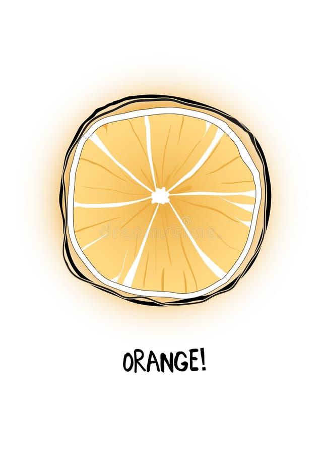 Zamazuje przedziałowego widoku pomarańcze z inskrypcją i obrysowywa royalty ilustracja