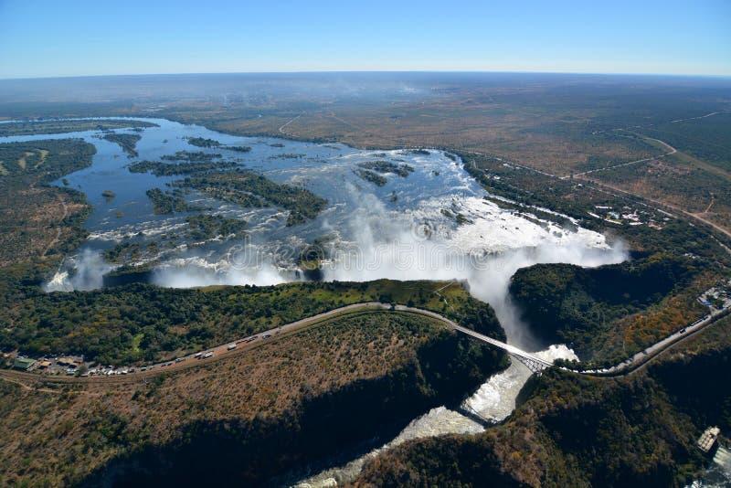Zambesi Wiktoria i rzeki spadki Zimbabwe zdjęcia royalty free