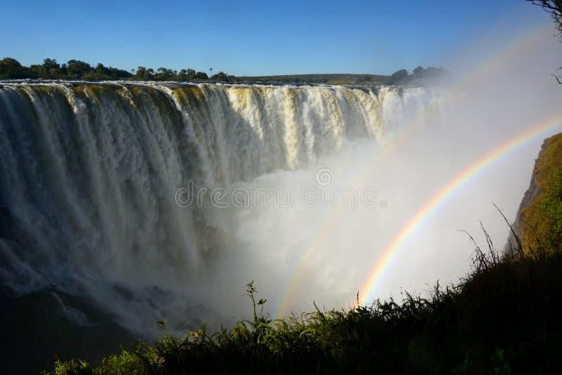 Zambesi Wiktoria i rzeki spadki Zimbabwe obraz royalty free