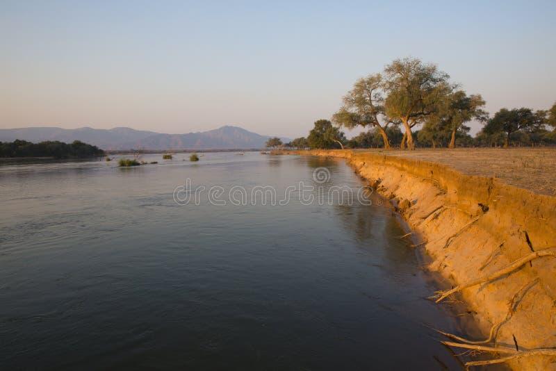 Zambezi bankenlandschap stock afbeeldingen