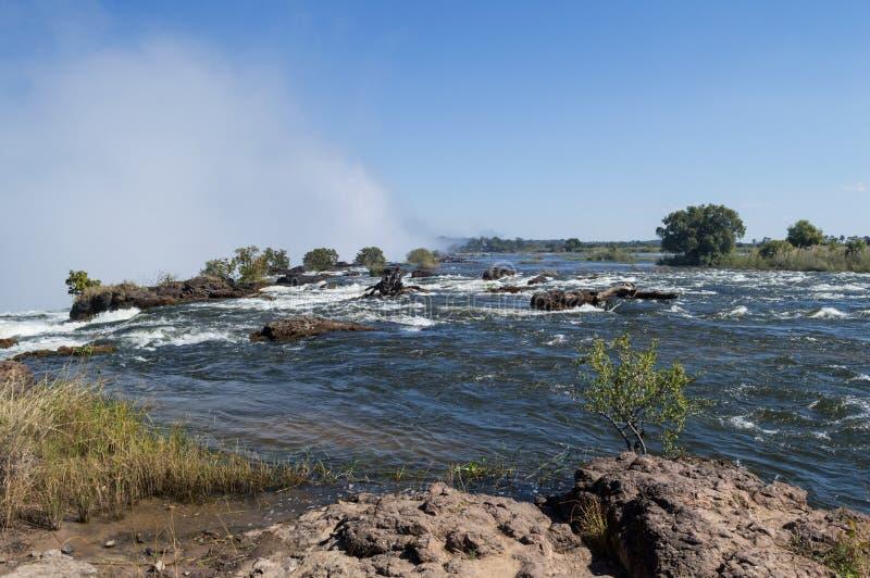 Zambezi Rivier Channeling in Victoria Falls, Zambia royalty-vrije stock foto's