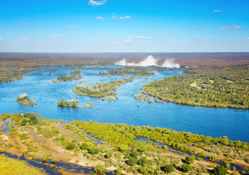 Zambezi rivier en van Victoria Dalingen stock foto