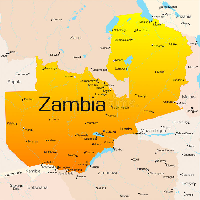 Zambia. Abstract vector color map of Zambia country