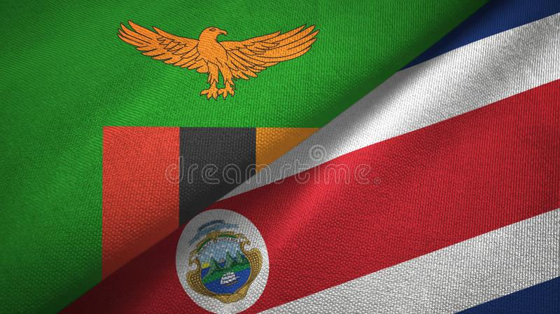 Zambia and Costa Rica two flags textile cloth, fabric texture royalty free illustration