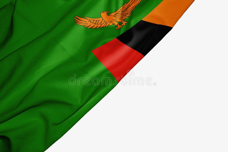 Zambia flag of fabric with copyspace for your text on white background. Africa banner best black capital colorful competition country ensign free freedom glory vector illustration