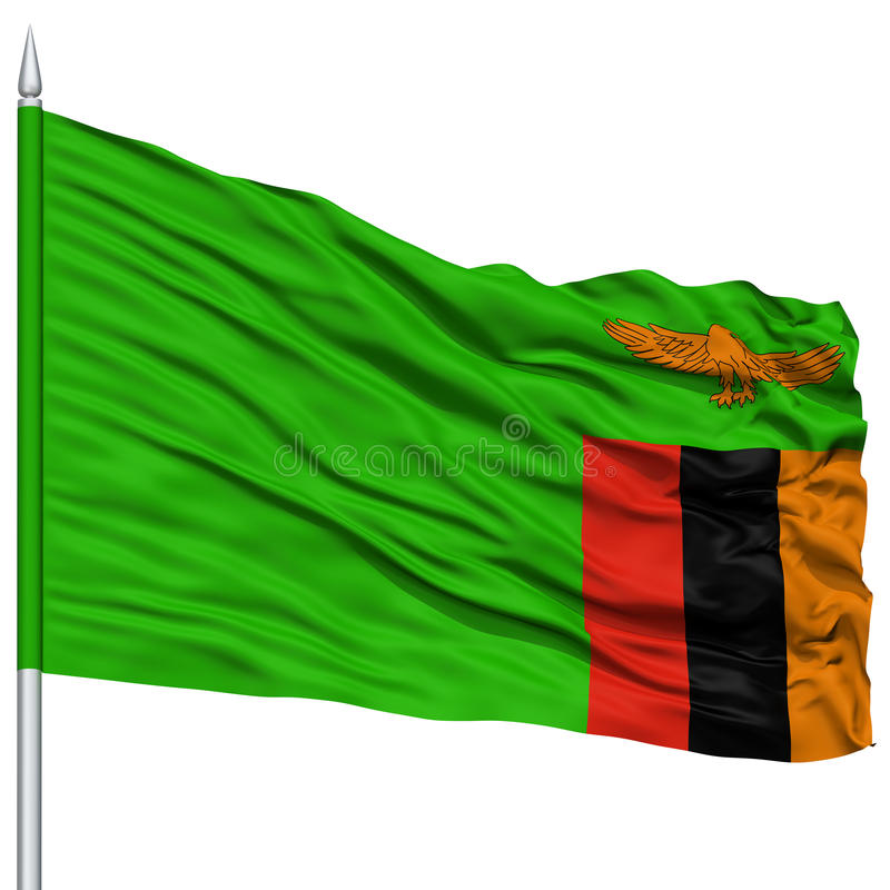 Zambia Flag on Flagpole. Flying in the Wind, Isolated on White Background royalty free stock photos