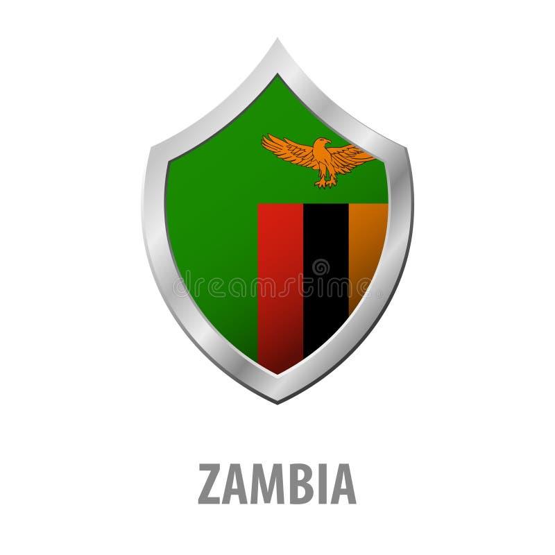 Zambia flaga na metal osłony błyszczącej ilustraci royalty ilustracja