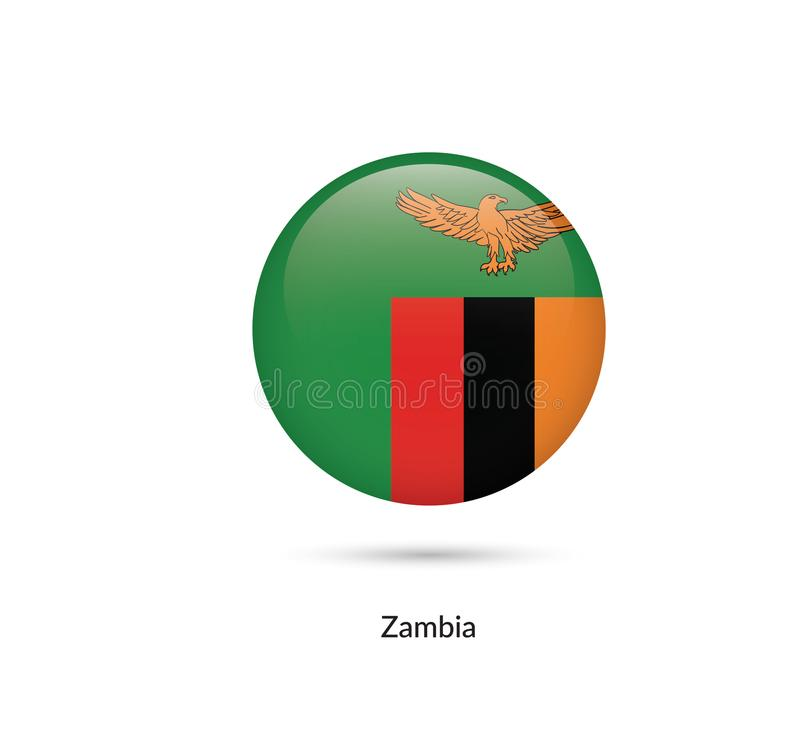 Zambia flagga - rund glansig knapp stock illustrationer