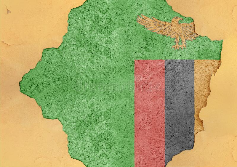 Zambia flaggaabstrakt begrepp i betongvägg för agg för fasadstruktur stor skadad arkivfoto