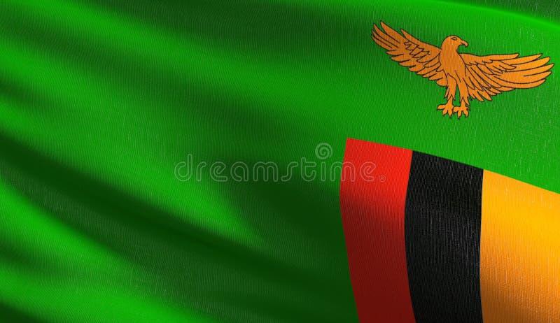 Zambia flagi państowowej dmuchanie w wiatrze odizolowywającym Oficjalny patriotyczny abstrakcjonistyczny projekt 3D renderingu il royalty ilustracja