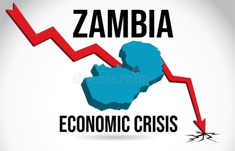 Zambia Map Financial Crisis Economic Collapse Market Crash Global Meltdown Vector. Illustration stock illustration
