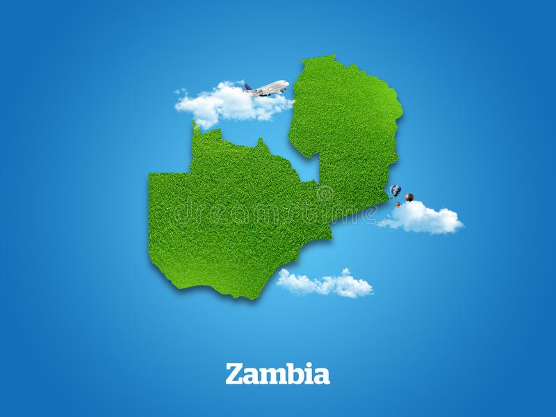 Zambia Map. Green grass, sky and cloudy concept. royalty free illustration