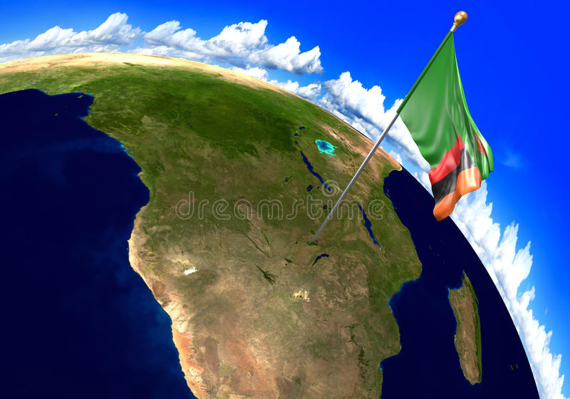 Zambia national flag marking the country location on world map stock download zambia national flag marking the country location on world map stock illustration illustration of gumiabroncs Images