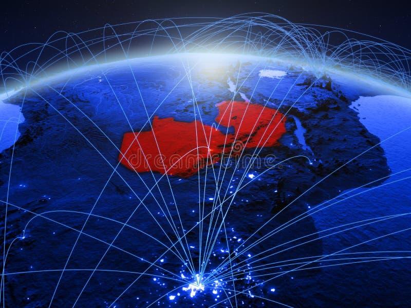 Zambia op blauwe digitale aarde met internationaal netwerk die mededeling, reis en verbindingen vertegenwoordigen 3D Illustratie royalty-vrije stock afbeeldingen
