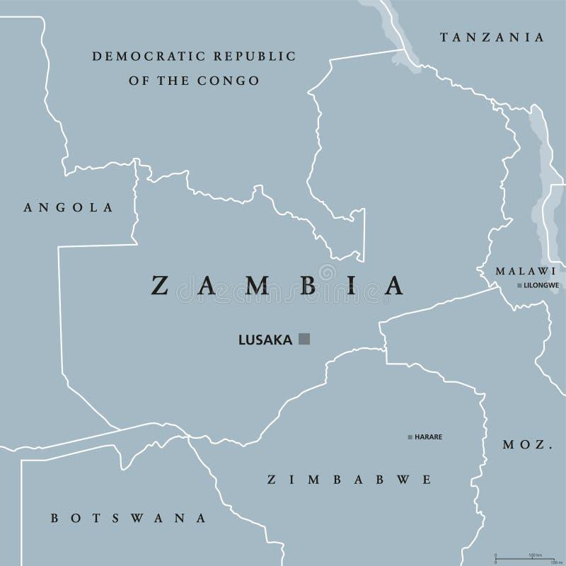 Zambia political map