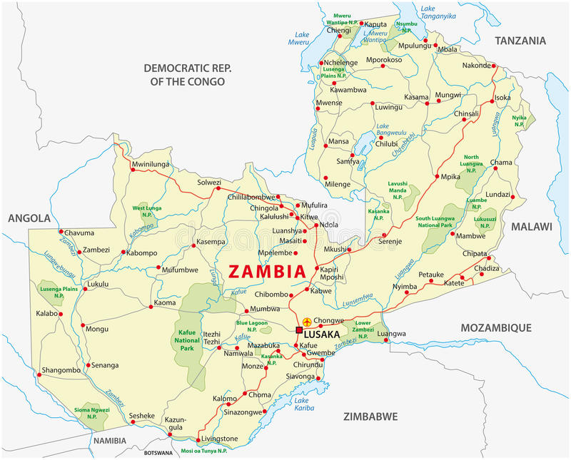 Zambia road and national park map stock illustration