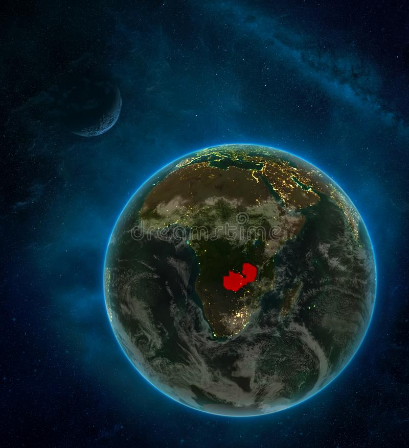 Zambia from space on Earth at night surrounded by space with Moon and Milky Way. Detailed planet with city lights and clouds. 3D. Illustration. Elements of this vector illustration