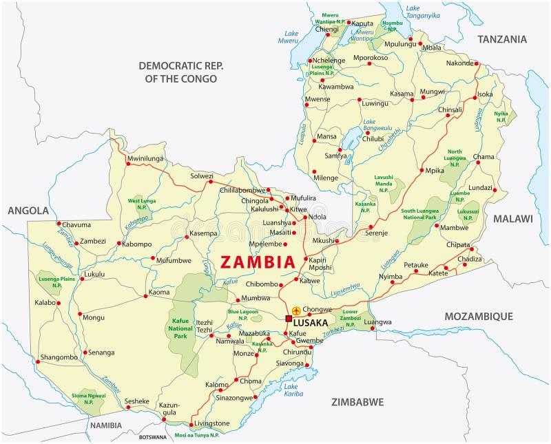 Zambia väg- och nationalparköversikt stock illustrationer