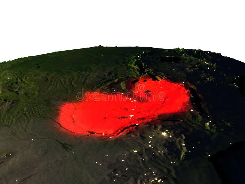Zambia van ruimte bij nacht vector illustratie