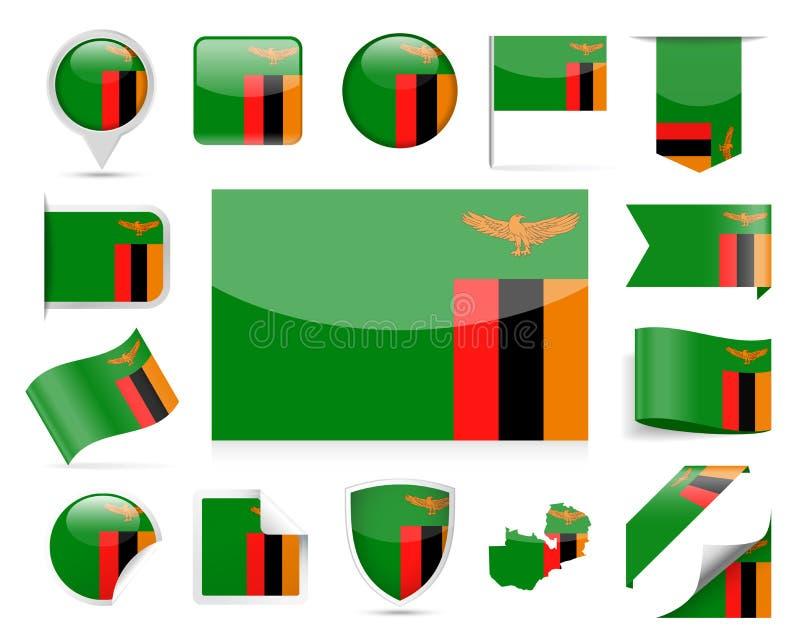 Zambiowie Zaznaczają wektoru set ilustracji