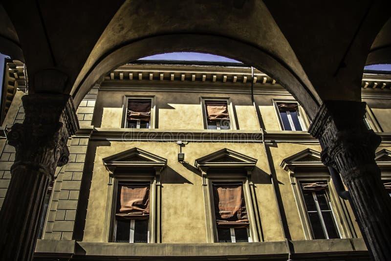 Zamboni Bologna Portico. A famous Bologna portico in Via Zamboni a central street of the city stock photo