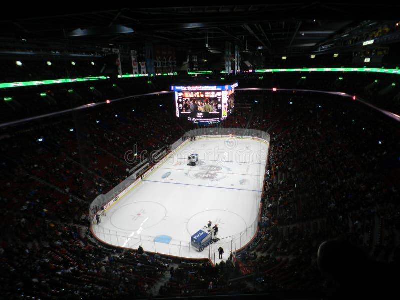 Zamboni nel gioco di NHL di Canadiens Habs che gioca nel centro di Bell del centro, Montreal, Canada fotografia stock libera da diritti