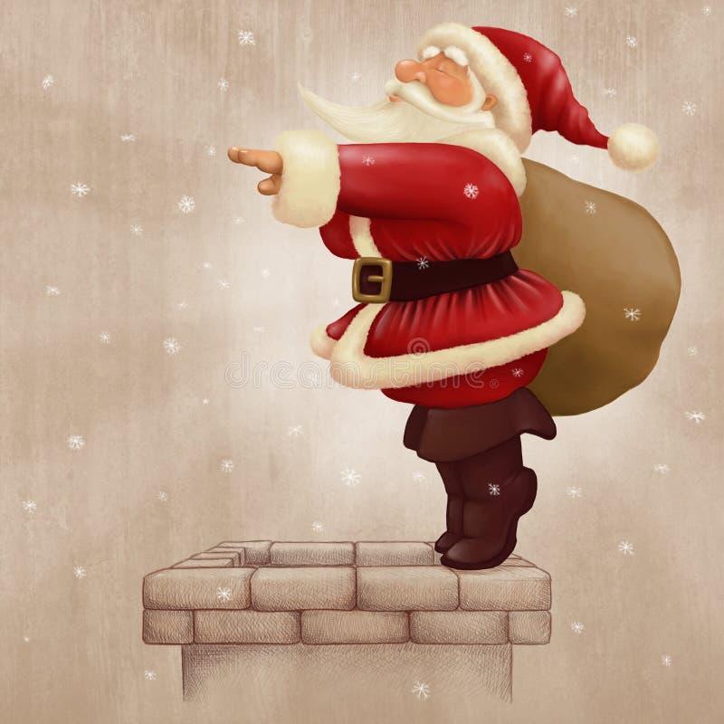 Zambullida de Papá Noel en la chimenea ilustración del vector