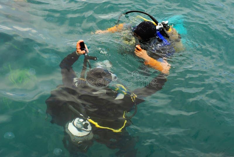 Zambullida del equipo de submarinismo de los zambullidores de equipo de submarinismo en el mar fotografía de archivo libre de regalías