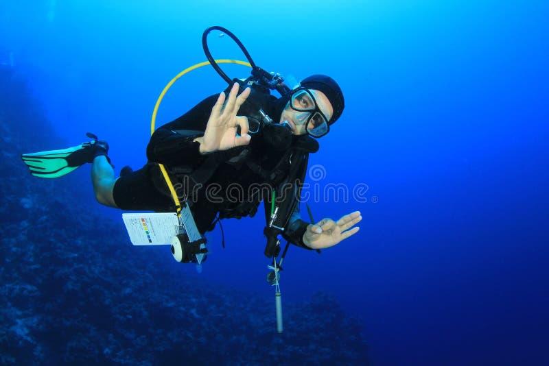 Zambullidor de equipo de submarinismo fotografía de archivo libre de regalías