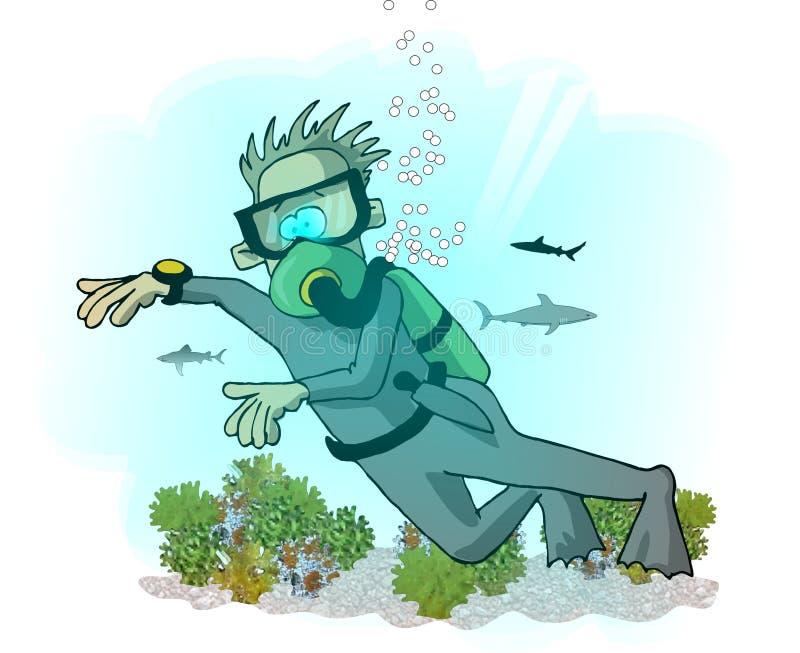 Zambullidor de equipo de submarinismo ilustración del vector